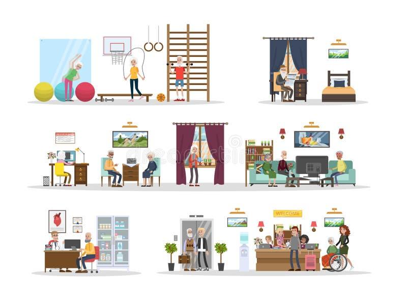 Nursing home interior. stock vector. Illustration of hospital ...
