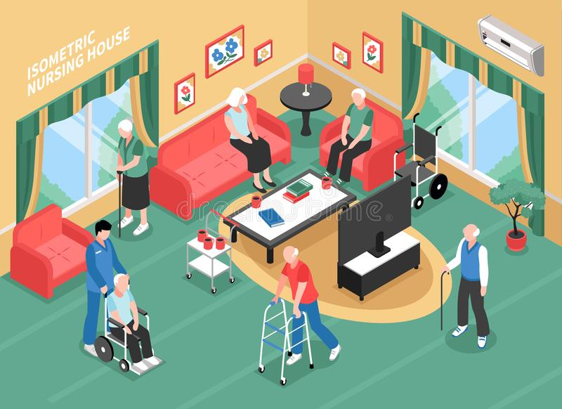 Nursing Home Isometric Illustration. Nursing home interior with staff, elderly people in wheelchair, with walkers or cane isometric vector illustration vector illustration