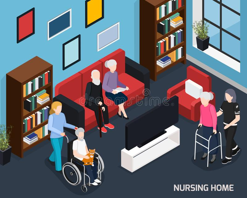 Nursing Home Isometric Composition. With working staff elderly people in wheelchair with walkers and cane vector illustration royalty free illustration