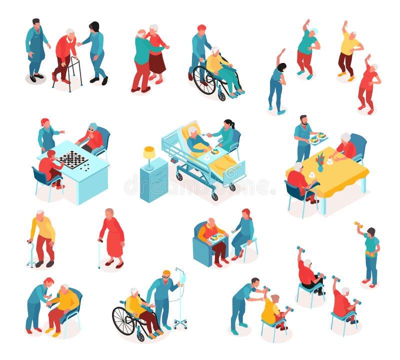Nursing Home Isometric Set stock illustration