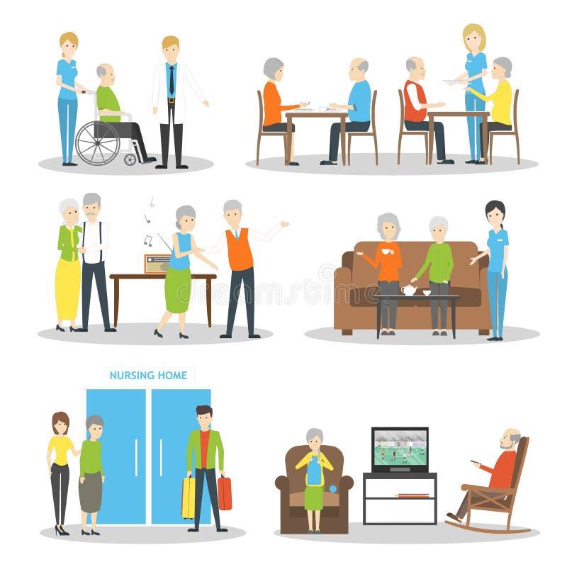 Nursing home set. royalty free illustration