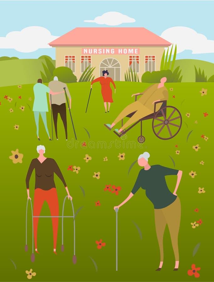 Nursing house concept. Nursing house with resting seniors and assistants. Center for retired, sick people. Caregiving, volunteering, social support. Medicine royalty free illustration