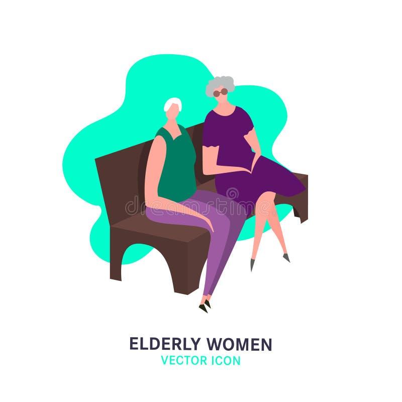 Nursing House Image. The old women, sitting on a bench. Elderly people problem. Nursing house. Medicine, healthy lifestyle concept. Editable vector illustration royalty free illustration