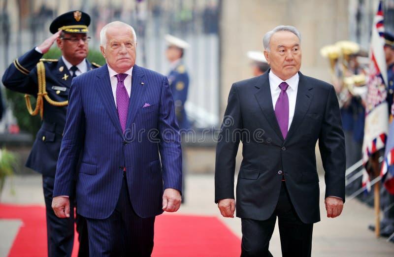 Nursultan Nazarbajev и Vaclav Klaus стоковое фото rf