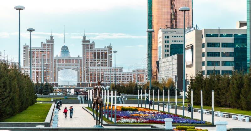 05.10.2011 KazMunaiGas and Transport Tower at the Nurzhol boulevard, Nur-Sultan, Astana; Kazakhstan stock images