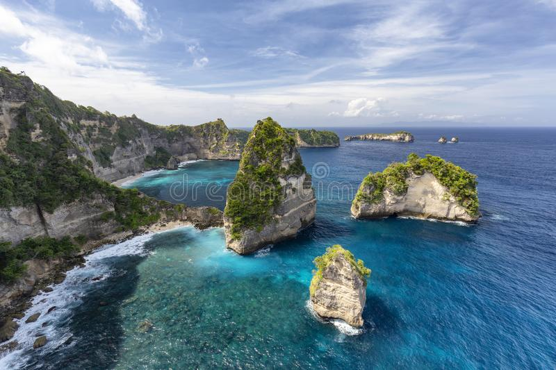 Nusa penida aerial. Small islands off of Nusa Penida known as Raja Lima or the five kings in Indonesia royalty free stock photography