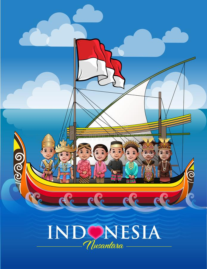 Nusantara, My archipelago Indonesia. Vector illustration, various ethnic and cultural archipelago in one ship named Indonesia stock illustration