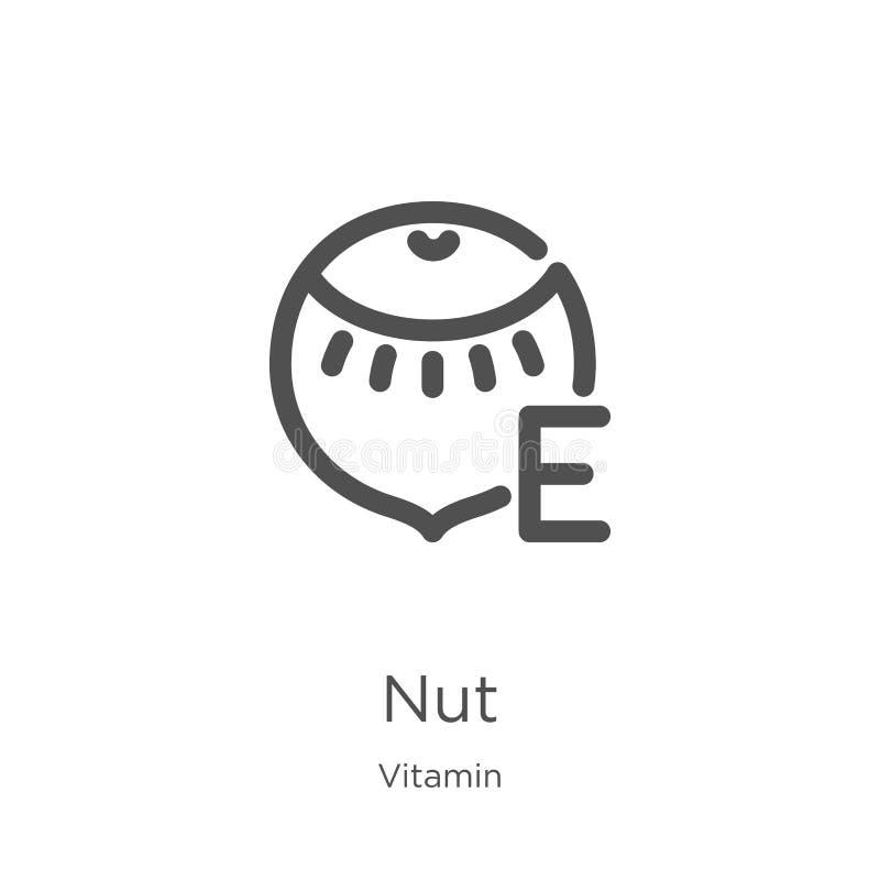 Nussikonenvektor von der Vitaminsammlung Dünne Linie Nussentwurfsikonen-Vektorillustration Entwurf, dünne Linie Nussikone für Web lizenzfreie abbildung