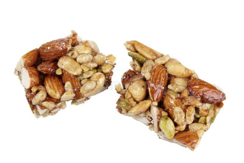 Nut Bar. On White Background stock photo