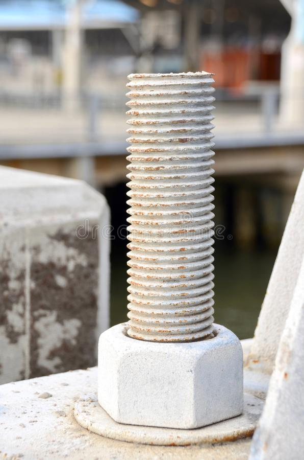 Nut and Bolt. A giant nut and bolt used in construction stock image