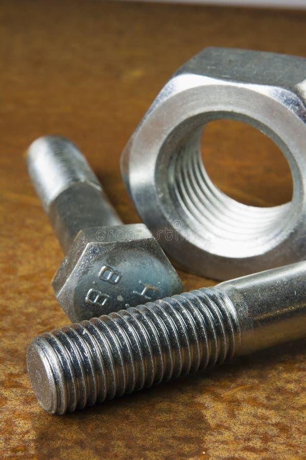 Nut and bolt still-life stock image