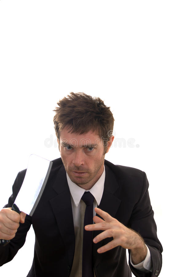 Download Nut Case Business Man Armed With Meat Cleaver Stock Image - Image: 11061443