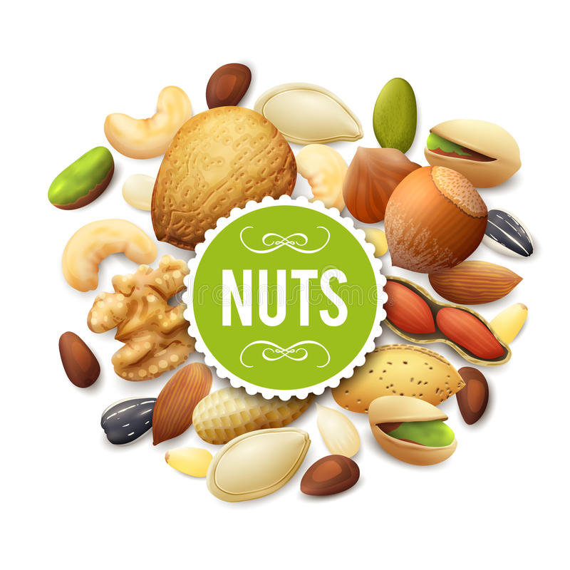 Nut Collection Illustration. Nut collection with raw food mix and paper label vector illustration stock illustration