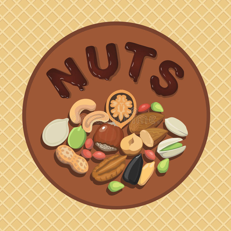 Nut collection with raw food mix and Round label illustration. Nut collection with raw food mix and Round label vector illustration hazelnut, almond, pistachio vector illustration