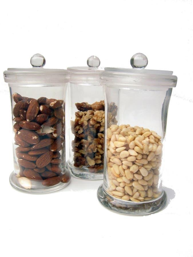 Nut jars stock photography