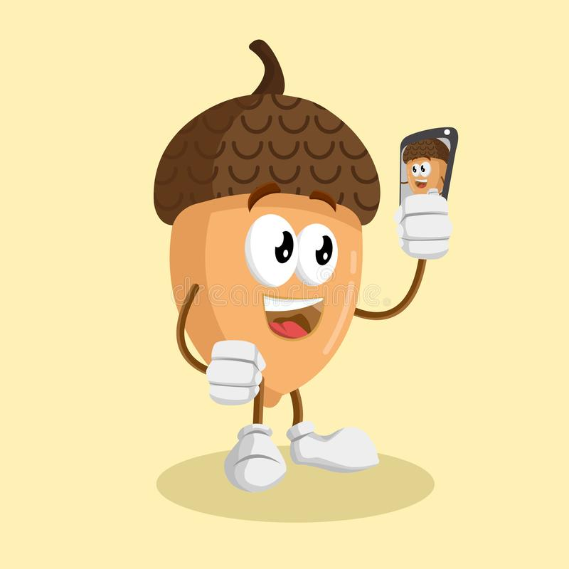 Nut mascot and background with selfie pose vector illustration
