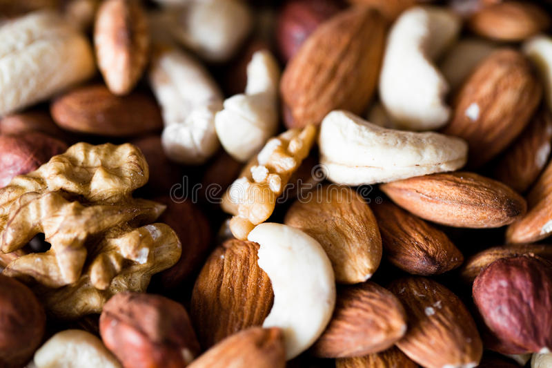 Nut mix. Nuts mix background close up stock image