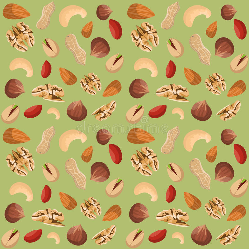 Nut mix seamless pattern. Of dried peanut walnut hazelnut pistachio vector illustration vector illustration