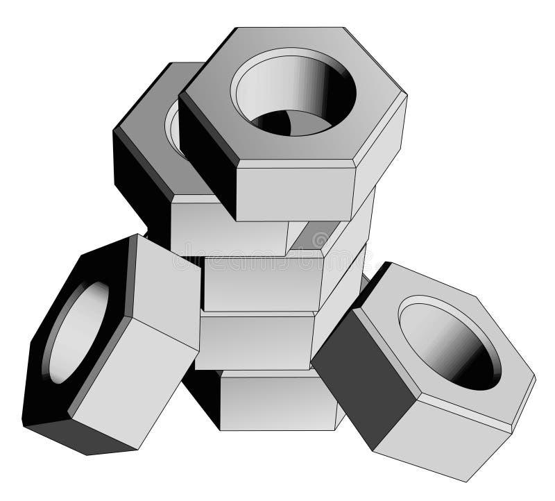 Nut pieces. 3d vector design of nut pieces vector illustration