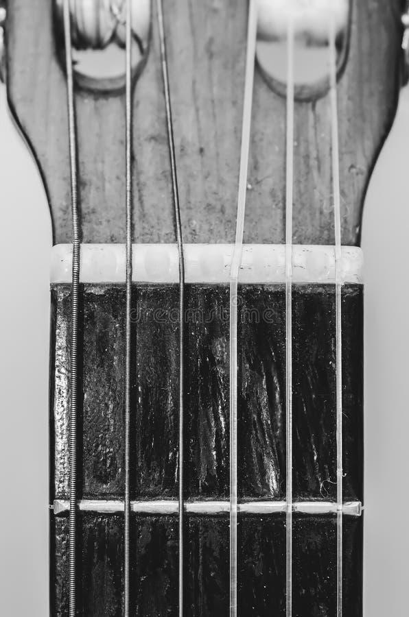 Nut, struny i frety z gitary akustycznej fotografia royalty free