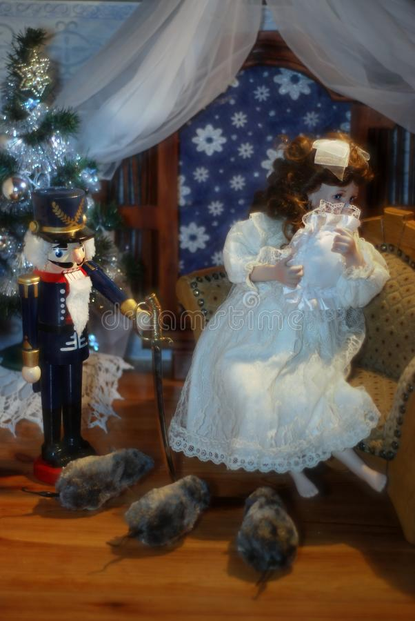 Nutcracker, Clara and mice. stock photos