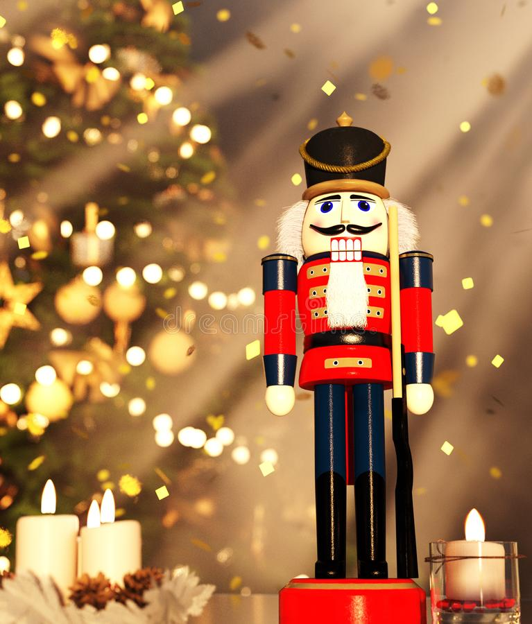 Nutcracker decorated for Christmas stock photography