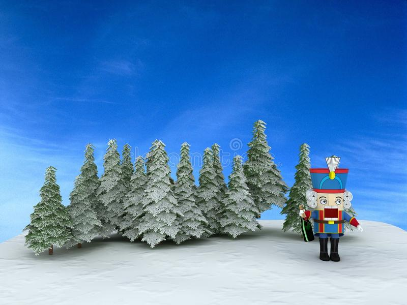 Nutcracker in the forest vector illustration