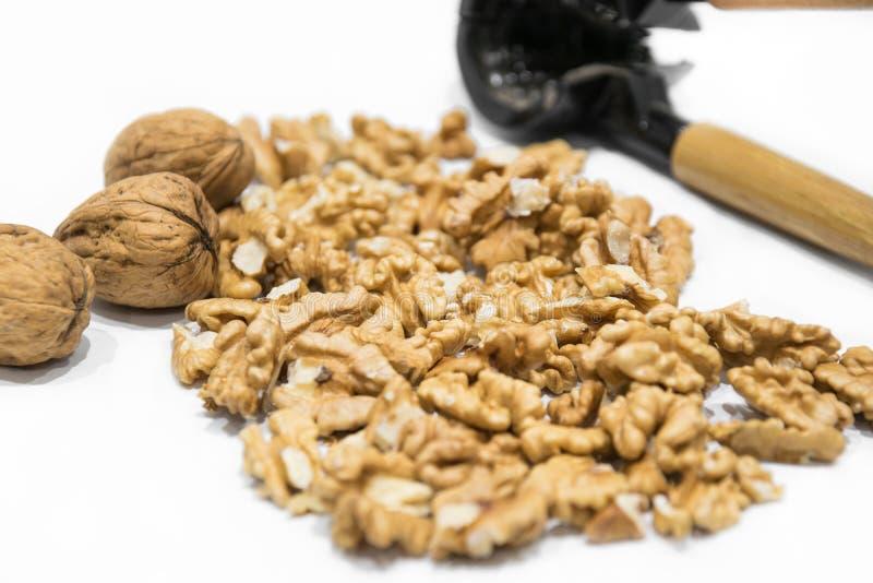 Nutcracker, walnut kernels and whole nutshells closeup macro, isolated on a white background stock photography