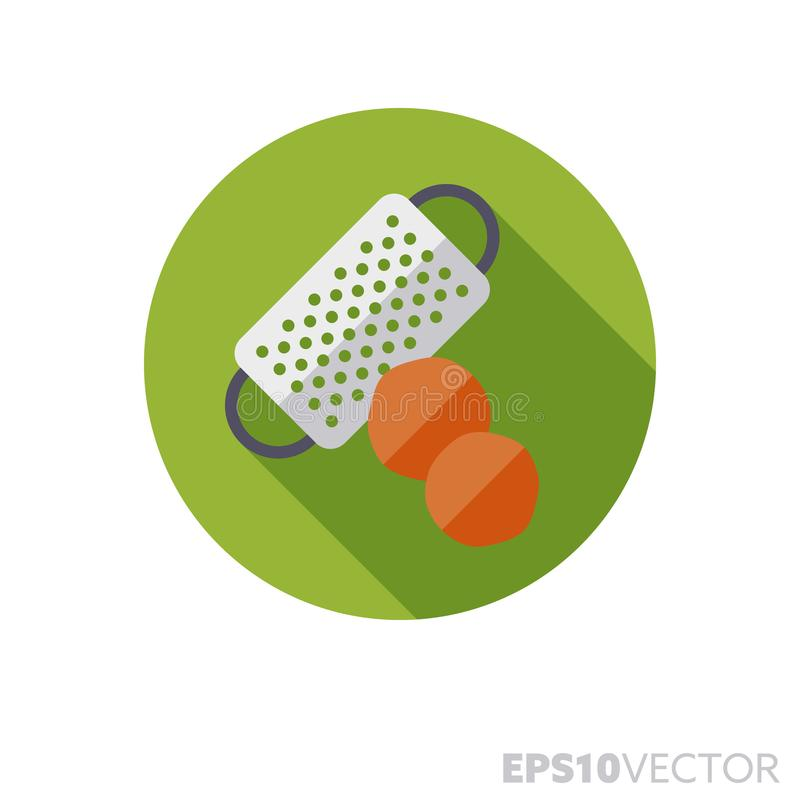 Nutmeg and grater flat design long shadow color vector icon. Nutmeg and grater flat design round icon. Color symbol of spices and condiments. Long shadow vector vector illustration