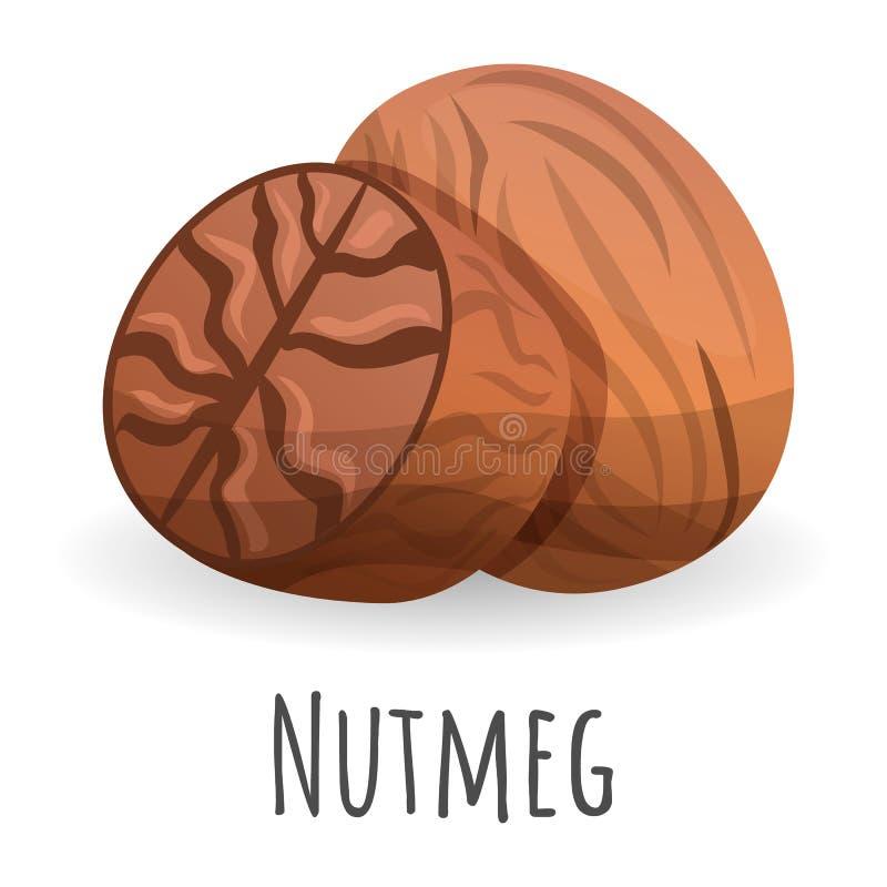 Nutmeg icon, cartoon style. Nutmeg icon. Cartoon of nutmeg vector icon for web design isolated on white background stock illustration