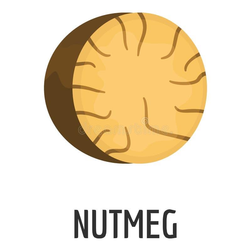 Nutmeg icon, flat style. Nutmeg icon. Flat illustration of nutmeg icon for web royalty free illustration