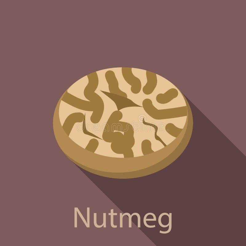 Nutmeg icon, flat style. Nutmeg icon. Flat illustration of nutmeg vector icon for web design stock illustration