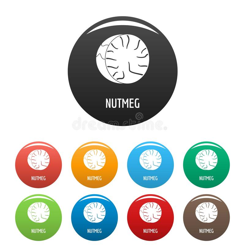 Nutmeg icons set color. Nutmeg icons set 9 color vector isolated on white for any design stock illustration
