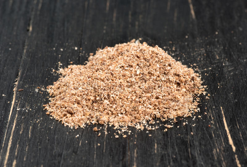 Nutmeg powder stock photo