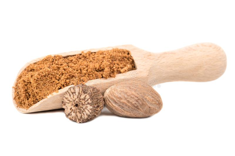 Nutmeg powder in scoop royalty free stock photo