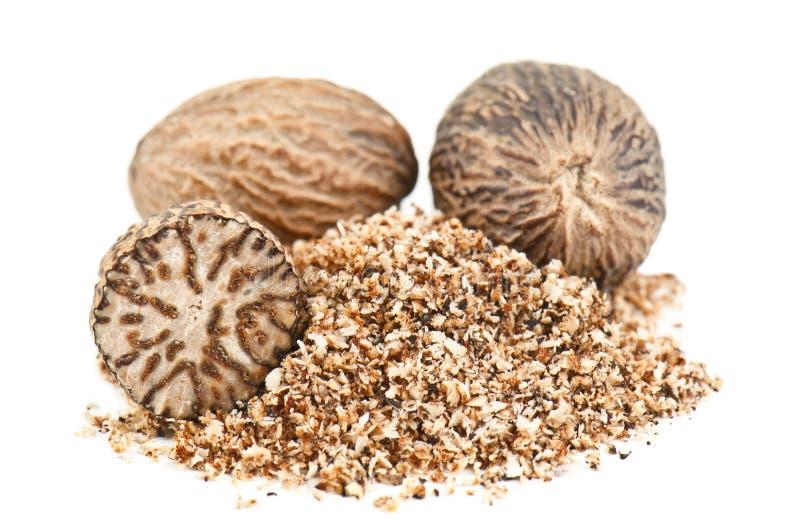 Nutmeg powder. On white background stock photography