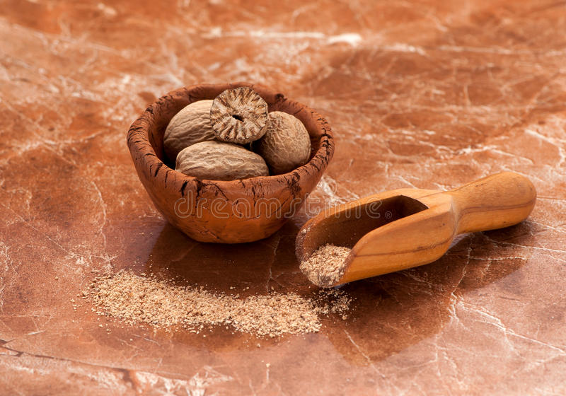 Nutmeg spice royalty free stock photography