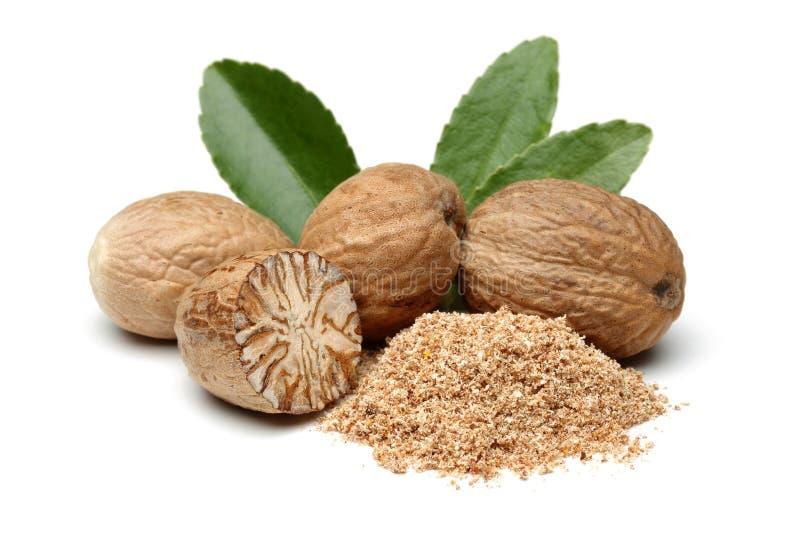 Nutmeg. On white background. Macro shot
