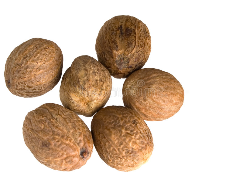 Nutmegs stock afbeelding