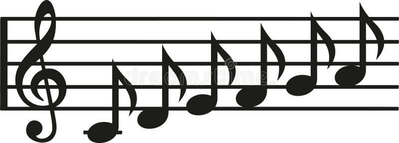 Nutowa linia z rzędem notatki ilustracja wektor