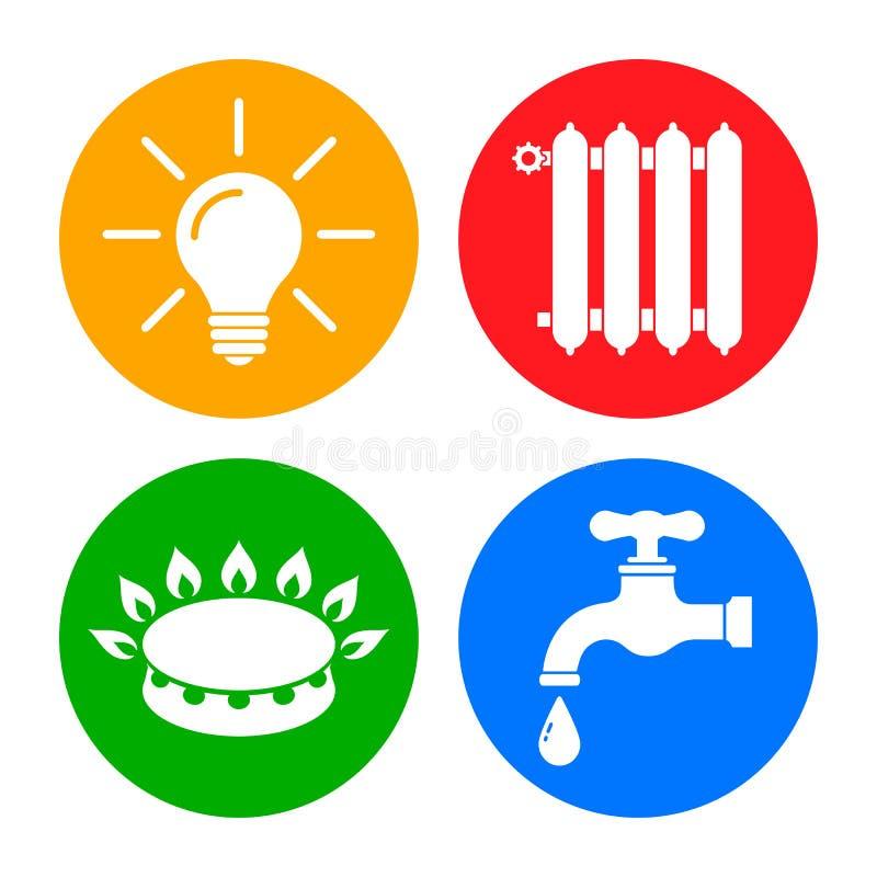 """Nutpictogrammen in vlakke stijl: water, gas, verlichting, """"vector het verwarmen †vector illustratie"""