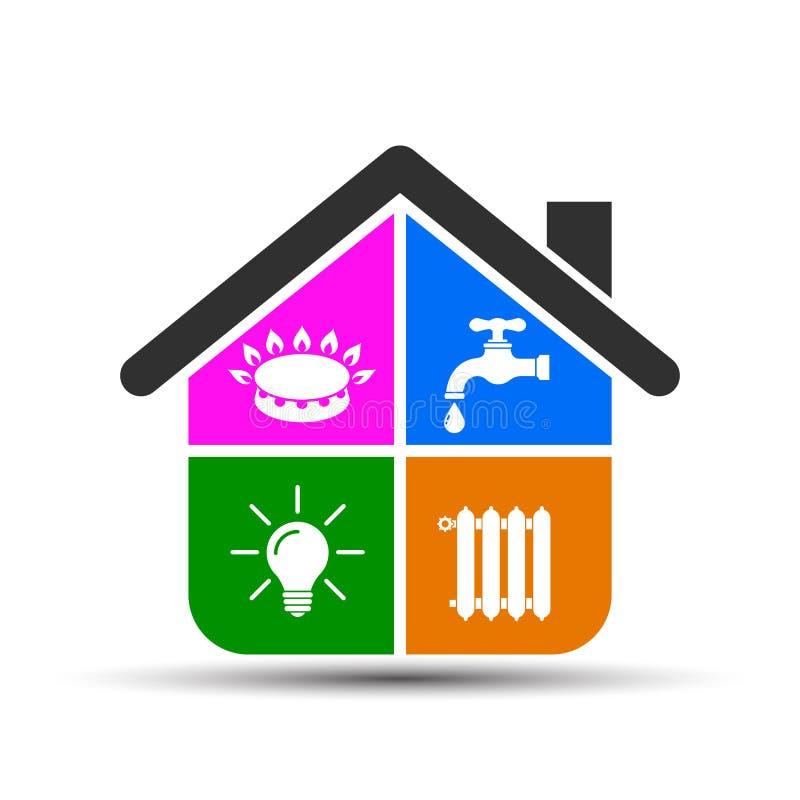 Nutpictogrammen in vlakke stijl: water, gas, verlichting, ?vector het verwarmen ? stock illustratie
