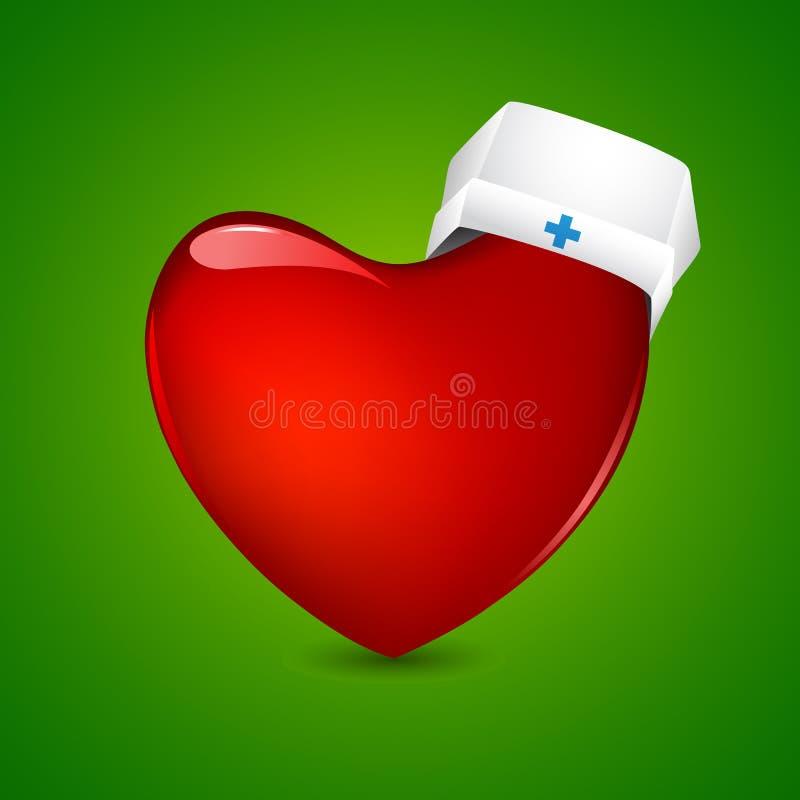 Nutra o tampão no coração ilustração stock