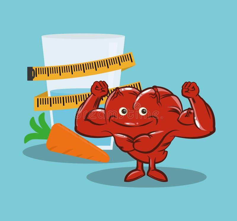 Nutrição da dieta saudável do coração da aptidão ilustração stock