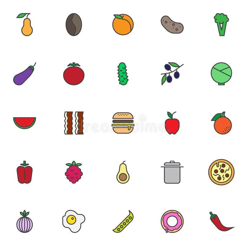 A nutrição do alimento encheu os ícones do esboço ajustados ilustração do vetor