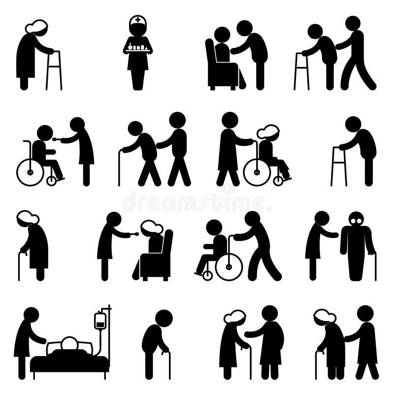Nutrição dos povos da inabilidade e ícones deficientes dos cuidados médicos ilustração do vetor