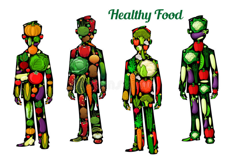 Nutrição saudável do alimento Ícones do corpo humano ilustração stock
