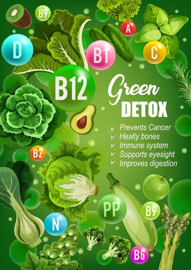 Nutrição verde do alimento das vitaminas da desintoxicação da dieta ilustração do vetor