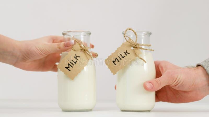 Nutrición orgánica de la lechería del hábito sano de la leche de la botella fotografía de archivo
