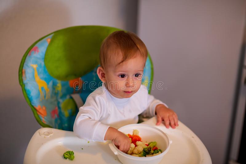 Nutrición sana para los niños niño adorable que come verduras imagen de archivo